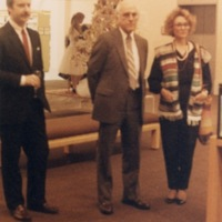 Artmobile Librarian Barbara Young with Tom Jenks and Edward F Sintz at the New Main Library Auditorium